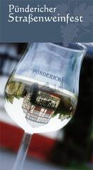 Flyer mit Weinglas zum Pündericher Strassenweinfest