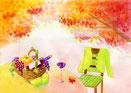 水彩風(秋のカレンダーイラスト・ぶどうワイン・紅葉)