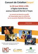 Fondation Groupama Santé groupe Création Gospel concert LMC France recherche leucémie Église Saint Bruno Troyes