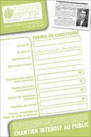 Panneau de chantier pour mettre les informations du permis de construire accordé. Le panneau est vert, blanc  et noir.