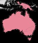 Karte zur Verbreitung der Staffelschwänze in Australien und Neuguinea