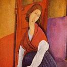 赤い肩掛けを着たジャンヌ・エビュテンヌ