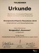 Urkund für den Energiezukunftspreis vom Berggasthof Hummelei Oberaudorf