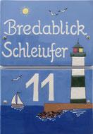 Schild Ferienhaus Schleivilla Bredablick an Schlei und Ostsee