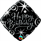 Folienballon Geburtstag schwarz silber elegant Sterne Stars Heliumballon Deko Dekoration Junge Mann Frau Mädchen Party Bouquet Ballon Luftballon Happy Birthday  18 30 40 50 60 Luftschlangen