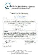 Regelmäßige Fortbildung: Zertifikat Autosystemhypnose.
