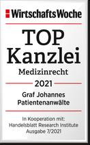 ANWALTGRAF Freiburg gehört zu den TOP-Kanzleien 2020 im Medizinrecht. Empfohlen von WirtschaftsWoche.