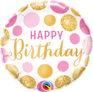 Folienballon rund rosa pink gold Glitter lavendel Frau Mädchen Heliumballon Kindergeburtstag Geburtstag Deko Dekoration Party Bouquet Ballon Luftballon Happy Birthday Punkte Konfetti