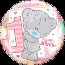 Folienballon rund rosa pink rose Frau Mädchen Heliumballon Kindergeburtstag Geburtstag Deko Dekoration Party Bouquet Ballon Luftballon Happy Birthday 1 Teddy Teddybär Tiny Tatty