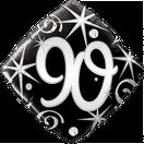 Folienballon Geburtstag schwarz silber elegant Sterne Stars Heliumballon Deko Dekoration Junge Mann Frau Mädchen Party Bouquet Ballon Luftballon Happy Birthday  18 30 40 50 60 70 80 90 Luftschlangen