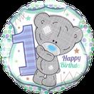 Folienballon rund blau grün Mädchen Junge Heliumballon Kindergeburtstag Geburtstag Deko Dekoration Party Bouquet Ballon Luftballon Happy Birthday 1 Teddy Teddybär Tiny Tatty