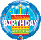 Folienballon Geburtstag rund blau Heliumballon Deko Dekoration Junge Mann Frau Mädchen Party Bouquet Ballon Luftballon Happy Birthday  Torte Geburtstagstorte Kuchen Cake Kerzen