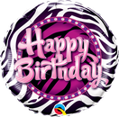 Folienballon rund rosa pink Zebra Print Frau Mädchen Heliumballon Kindergeburtstag Geburtstag Deko Dekoration Party Bouquet Ballon Luftballon Happy Birthday Lets Party