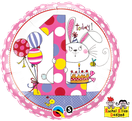 Folienballon rund rosa pink Mädchen Heliumballon Kindergeburtstag Deko Dekoration Party Bouquet Ballon Luftballon Rachel Ellen Happy Birthday Girl 1 2 3 4 5 Hase