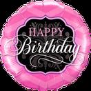 Folienballon rund rosa pink  Frau Mädchen Heliumballon Kindergeburtstag Geburtstag Deko Dekoration Party Bouquet Ballon Luftballon Happy Birthday elegant schnörkel Versand