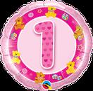 Folienballon rund rosa pink Mädchen Heliumballon Kindergeburtstag Deko Dekoration Party Bouquet Ballon Luftballon Birthday Girl 1 2 3 4 5 Bär Teddy Teddybär