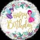 Folienballon Geburtstag rund blau Heliumballon Deko Dekoration Junge Mann Frau Mädchen Party Bouquet Ballon Luftballon Happy Birthday  Feen Elfen Blumen Flower Märchen Zauber