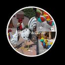 hahn und huhn, hühner, bauernhof, bauerngarten, gartendekoration, tierskulpturen, ostern, weihnachten, geschenk, teichdekoration