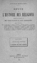 Couverture. Marcel GRANET (1884-1940) : Programme d'étude sur l'ancienne religion chinoise. — Annales du musée Guimet. Ernest Leroux, éditeur, Paris, 1914, 13 pages.