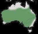 Karte zur Verbreitung des Braunkehl-Honigfressers in Australien
