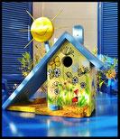Houten nestkastjes - vlinders, zomer, bijen, zon, Pindakaas pot houder