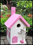 Vogelhuisje,nestkastje hout_Pastel Roze 6_wit_dak roze_deur roze_deurknop wit
