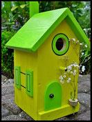 Vogelhuisje,nestkastje hout_Droom in Geel 3_geel_dak appelgroen_deur appelgroen