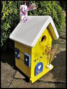 Vogelhuisje,nestkastje hout_Droom in Geel 7_geel_dak wit_deur blauw