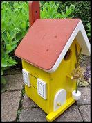 Vogelhuisje,nestkastje hout_Droom in Geel 5_geel_dak roodbruin_deur wit