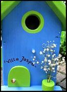 Vogelhuisje,nestkastje hout_nestkastje in lichtblauw Villa Mats, appelgroen dak