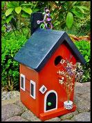 Vogelhuisje,nestkastje hout_Chocolade 2_bruin_dak zwart_deur zwart-wit