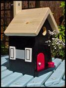 Vogelhuisje, nestkastje hout_Black Beauty 1_zwart_dak blank_deur rood