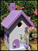 Vogelhuisje,nestkastje hout_Lavendel tinten 4_lichtblauw_dak en deur donker paars