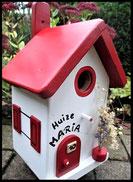Vogelhuisje, nestkastje hout_nestkastje wit 13_Ferrari Rood_dak_deur_ramen_bloempot
