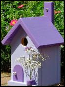 Vogelhuisje,nestkastje hout_Lavendel tinten 5_lavendelblauw_dak,deur donker paars