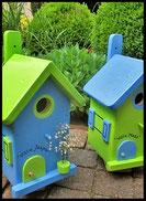 Vogelhuisje,nestkastje hout_nestkastjes in appelgroen en lichtblauw