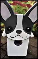 Houten nestkastjes - met toevoeging, Hond zwart-wit