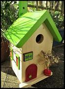 Vogelhuisje,nestkastje hout_nestkastje Hout Blank_dak appelgroen_deur rood