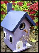 Vogelhuisje,nestkastje hout_Lavendel tinten 7_lavendelblauw_dak donkerblauw