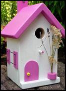 Vogelhuisje,nestkastje hout_Pastel Roze 2_wit_dak roze_deur roze