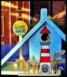 Houten nestkastjes - Strand, zomer , zon, Pindakaas pot houder