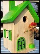 Vogelhuisje,nestkastje hout_nestkastje Hout Blank_dak appelgroen, deur appelgroen