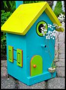 Vogelhuisje,nestkastje hout_nestkastje Lichtblauw_dak geel_deur appelgroen