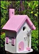 Vogelhuisje,nestkastje hout_Pastel Roze 1_wit_dak pastel roze_deur pastel roze