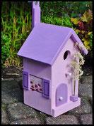 Vogelhuisje,nestkastje hout_Lavendel tinten 3_lavendel_dak en deur lavendel donker