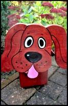 Houten nestkastjes - met toevoeging, Hond donker bruin
