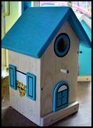 Vogelhuisje,nestkastje hout_nestkastje Hout Blank_dak lichtblauw_deur lichtblauw
