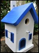 Vogelhuisje, nestkastje hout_nestkastje wit 16_Grieks Blauw_dak_deur_ramen_bloempot