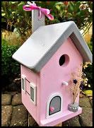 Vogelhuisje,nestkastje hout_Pastel Roze 4_roze_dak lichtgrijs_deur lichtgrijs