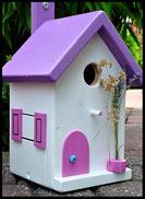 Vogelhuisje, nestkastje hout_nestkastje wit 15_Lavendel Roze_dak_deur_ramen_bloempot